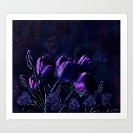 Purple Tulips in a Midnight Garden Art Print