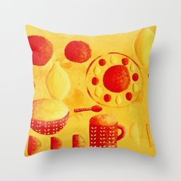Oranges and Lemons with bowls Throw Pillow