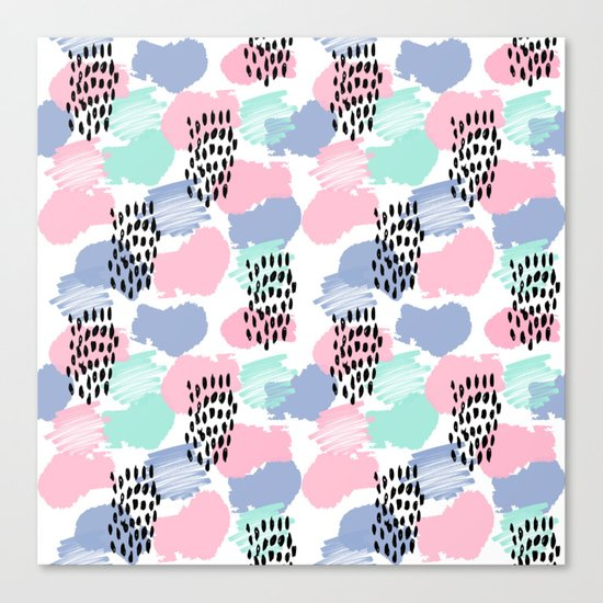 Pastel painted pattern minimal mint and pink nursery home decor patterns Canvas Print