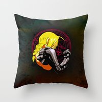 fullmetal alchemist Throw Pillows featuring YELLOW HAIR ALCHEMIST by BradixArt
