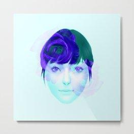 Roses - Purple on Turquoise Metal Print
