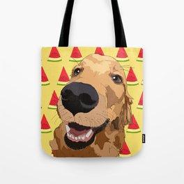 Golden Retriever Dog-Watermelon Tote Bag