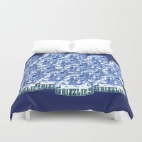 nba Duvet Covers featuring GRIZZLIES HAND-DRAWING DESIGN by SUNNY Design