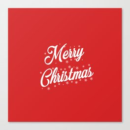 Merry Christmas with Snow Flakes on Red Background Canvas Print