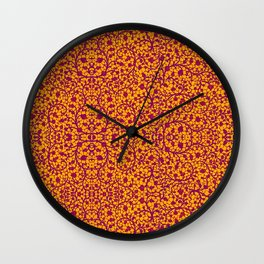 Yellow and Yellow Vibrant Floral Pattern Wall Clock