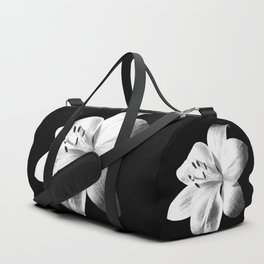 White Lily Black Background Duffle Bag