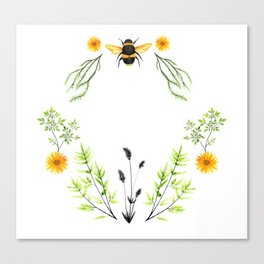 Bees in the Garden - Watercolor Graphic Canvas Print