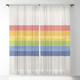 Retro Rainbow Stripe Sheer Curtain