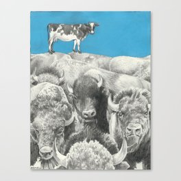 Atop the Herd - Digitally Altered Graphite Drawing - 2014 Canvas Print