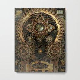 Rusty Vintage Steampunk Gears Metal Print
