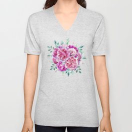 Beautiful soft pink peonies Unisex V-Neck