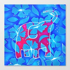 Elephant and flowers Canvas Print