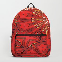 Red Bold Kaleidoscope Pattern Backpack