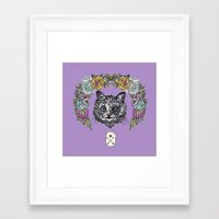 cheshire cat Framed Art Prints featuring Cheshire by minniemorrisart