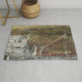Vintage 19th Century Currier & Ives Brooklyn Lithograph Wall Art in color Rug