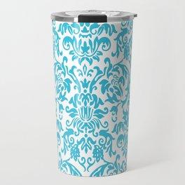Elegant Damask Pattern (aqua) Travel Mug