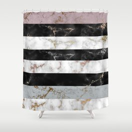 Geometrical black white pink teal rose gold marble Shower Curtain
