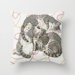 cats gold and rose Throw Pillow
