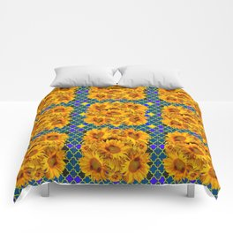 BLOCKS OF YELLOW SUNFLOWERS ON TEAL & PURPLE PATTERN Comforters