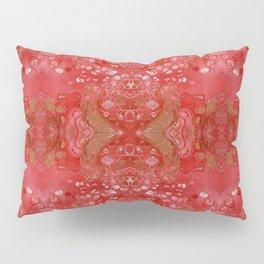 Red and gold fluid art Pillow Sham