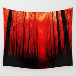 Misty Red Forest Wall Tapestry