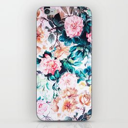 Modern blush pink green watercolor roses floral iPhone Skin