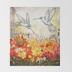 Hummingbird Garden Throw Blanket