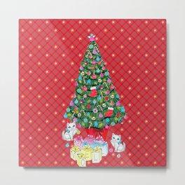 Christmas tree with cats / red tartan, plaid, kittens, holidays, christmas gift, Metal Print