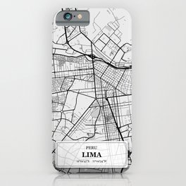 Lima Peru City Map with GPS Coordinates iPhone Case
