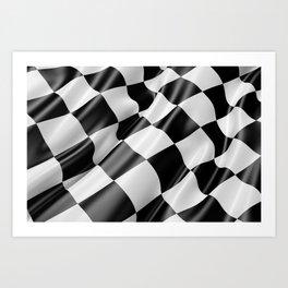 Black and White Waving Racing Flag Art Print