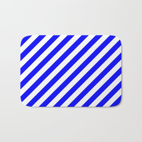 Diagonal Stripes (Blue/White) Bath Mat