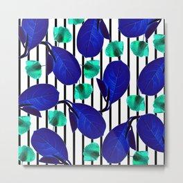 Blue Leaves + Aqua Poppies Metal Print