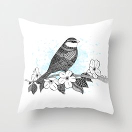 Bird and cherry blossoms Throw Pillow