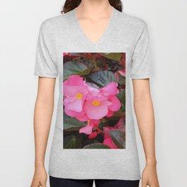 Pink Begonia Unisex V-Neck