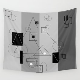 Gray Geometry 3 Wall Tapestry
