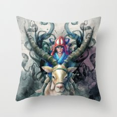 Ashitaka Demon Watercolor Digital Painting Throw Pillow