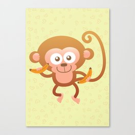 Lovely Baby Monkey Eating Bananas Canvas Print