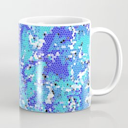 Squashed Blue Frog in a Sea of Aqua Blue Abstract Stained Glass Effect Coffee Mug