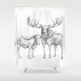 Longhorn and Moose Shower Curtain