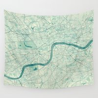 vintage map Wall Tapestries featuring London Map Blue Vintage by City Art Posters