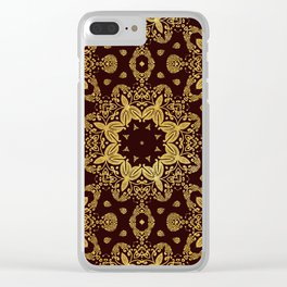 golden flowers on the brown background Clear iPhone Case