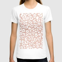 White hand painted leopard pattern on faux rose gold glitter T-shirt