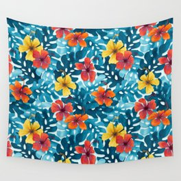 Tropical Hibiscus Pattern Summer Wall Tapestry