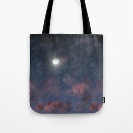 Glowing Moon on the night sky through pink clouds Tote Bag
