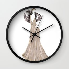 Fashion illustration 1920's dress in taupe Wall Clock