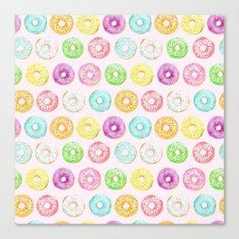 Watercolor pink sprinkle donuts Canvas Print