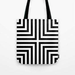 Simple Geometric Cross Pattern - White on Black - Mix & Match with Simplicity of life Tote Bag