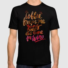 Coffee & Wine – Brown & Magenta Ombré Black MEDIUM Mens Fitted Tee