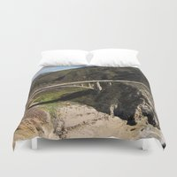big sur Duvet Covers featuring Big Sur Bridge by The Aerial Photography Shop