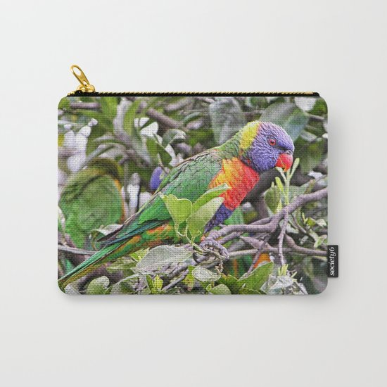 rainbow lorikeet on branch in tree Carry-All Pouch